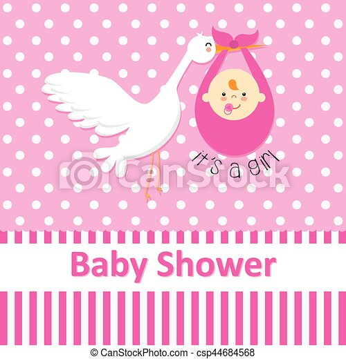 Stork with baby girl - csp44684568
