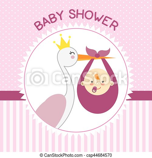Stork with baby girl - csp44684570