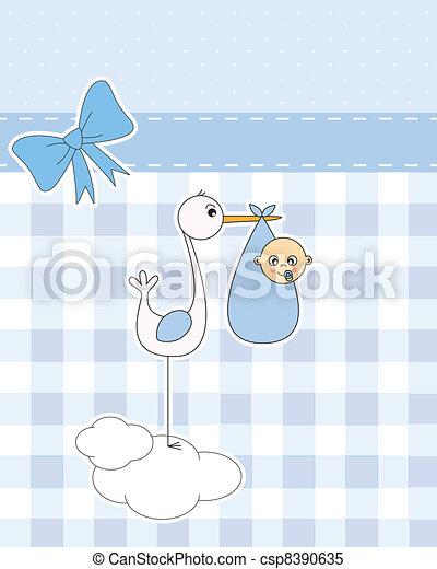 stork with newborn baby boy baby boy arrival announcement card