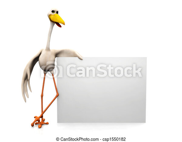 Stork with sign - csp1550182
