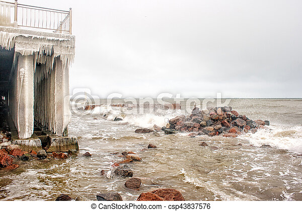 storm at sea in winter - csp43837576