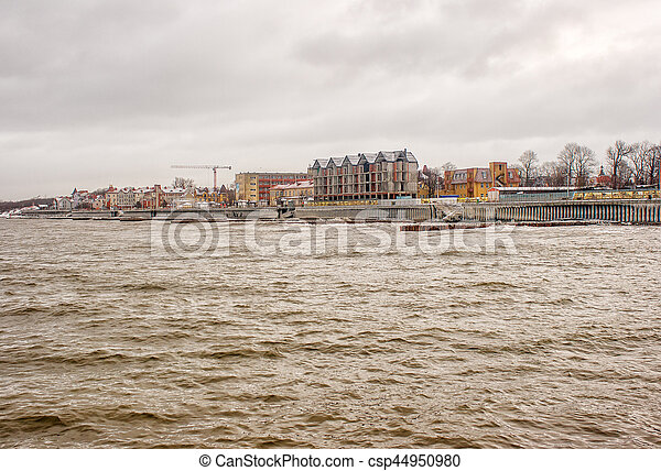 storm at sea in winter - csp44950980