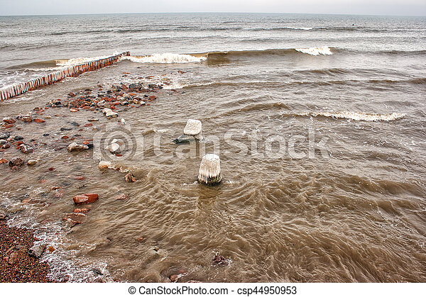 storm at sea in winter - csp44950953