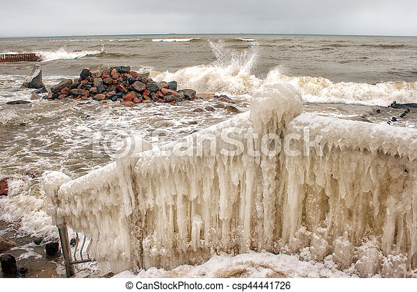 storm at sea in winter - csp44441726