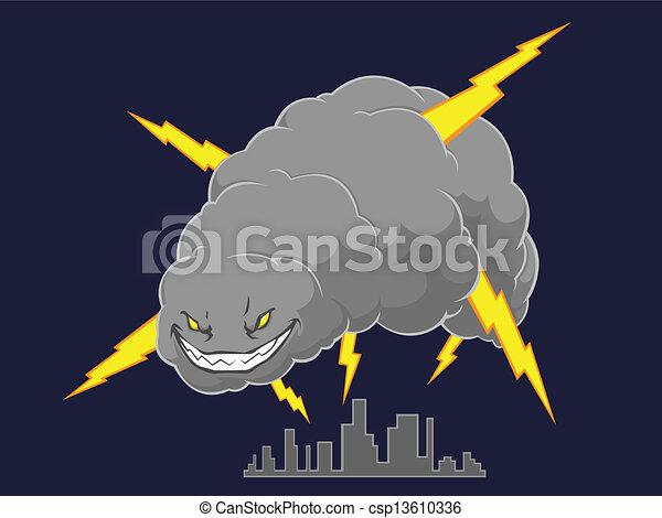 Storm Cloud Attacking A City - csp13610336