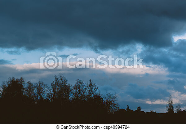 storm clouds over the forest - csp40394724