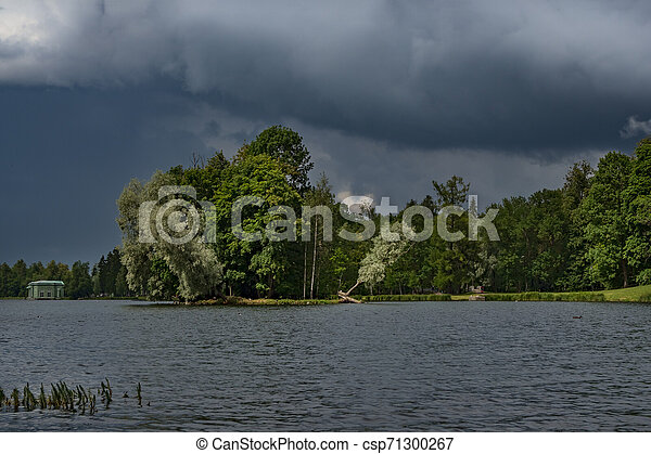 Storm clouds over the park in summer. Gatchina. Russia - csp71300267