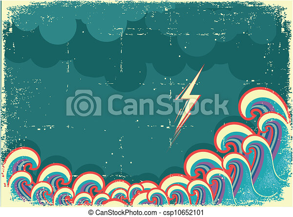 Storm in ocean with waves and lightning - csp10652101