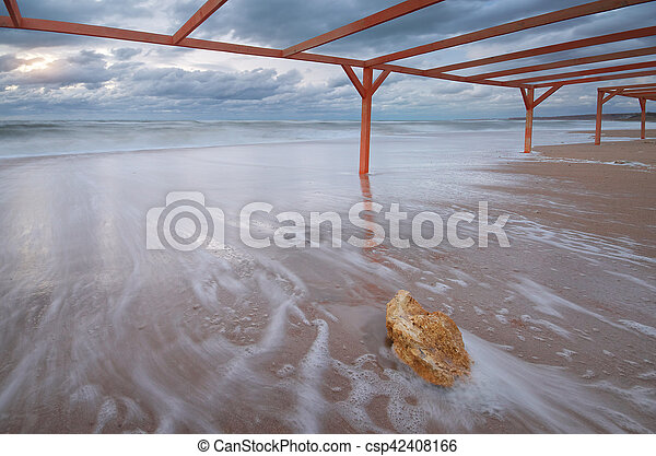 Storm on the beach. - csp42408166