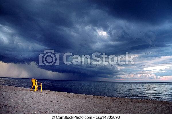 Storm on the beach - csp14302090