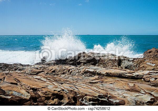 Storm on the sea. Rocky beach, Tyrrhenian sea - csp74258612
