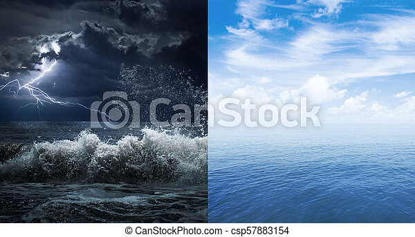 stormy and calm sea or ocean surface - csp57883154