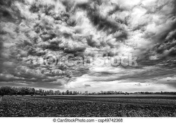 Dark stormy clouds over the country in Slovakia