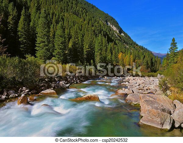 Stormy famous Krimml waterfalls - csp20242532