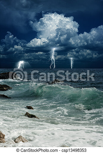 Stormy sea, lightnings - csp13498353