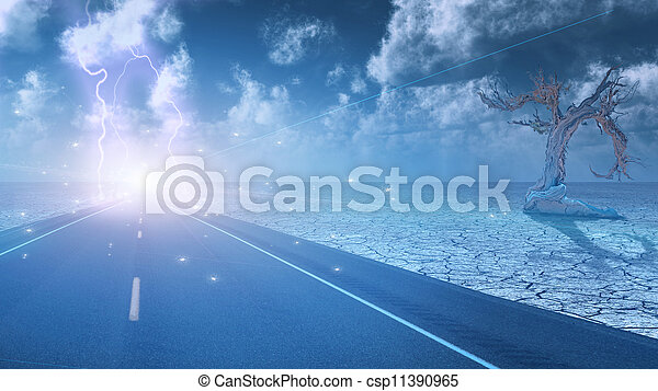 Stormy sky on desert road leading into city - csp11390965
