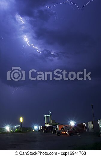 Stormy Truck Stop - csp16941763