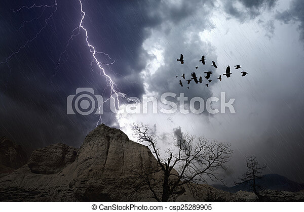 Stormy weather in mountains - csp25289905