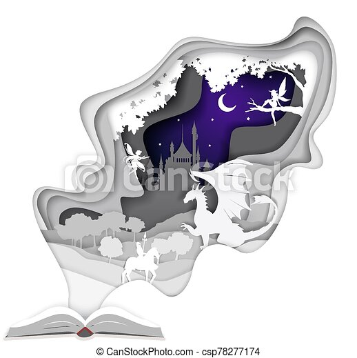 Story book, vector illustration in paper art style - csp78277174