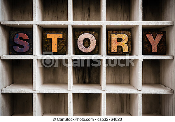Story Concept Wooden Letterpress Type in Drawer - csp32764820