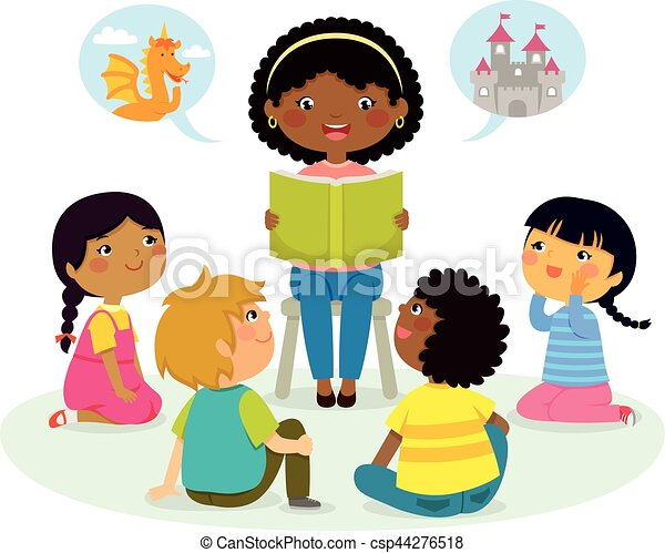 story time – multicultural group - csp44276518