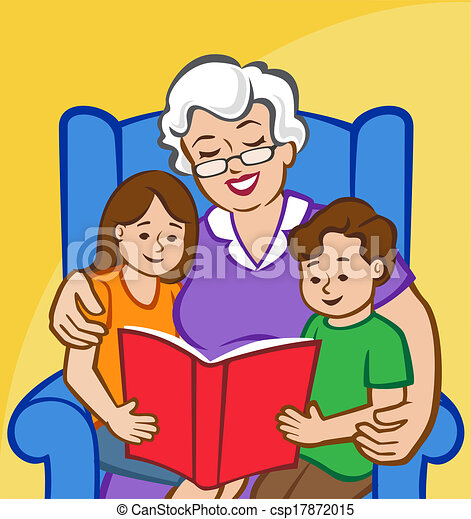 story time with grandma illustration of a grandmother reading to a rh canstockphoto com grandma clipart words grandma clipart face