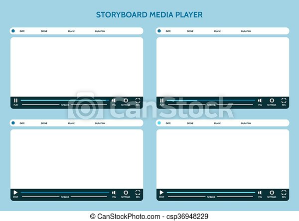 Storyboard Media Player Video Storyboard Design Template Vector