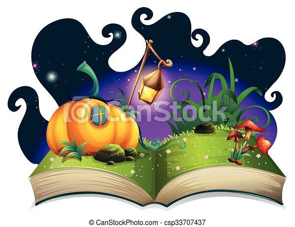 Storybook with pumpkin house at night - csp33707437