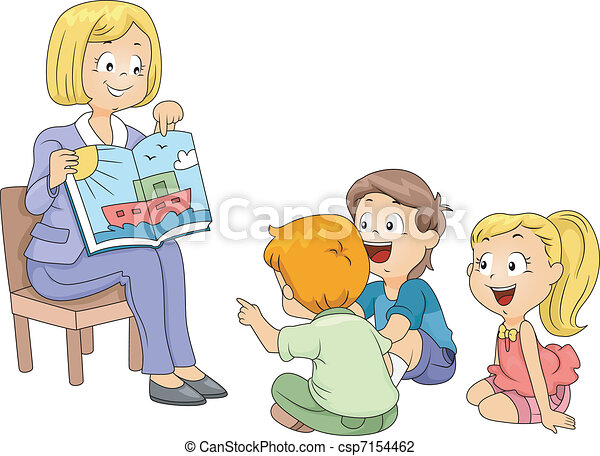 storytelling illustration of kids listening to a story rh canstockphoto com storytelling clipart images Storytelling Graphics