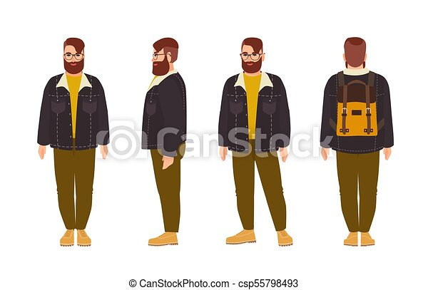 5f0c6e717 Stout Bearded Hipster Man Dressed In Stylish Clothing. Fat Male Cartoon  Character With Trendy