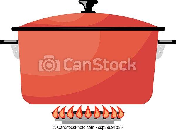 stove., gas, beeld, metaal, illustratie, fire., vector, rood, keuken, spotprent, pan, liggen - csp39691836