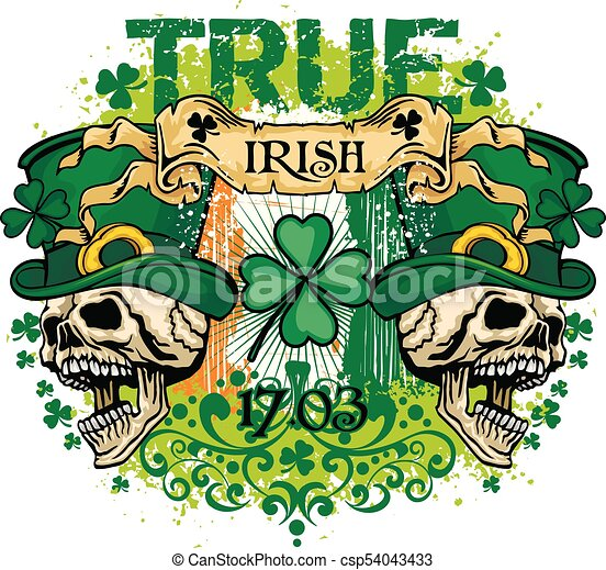 fb5eec33e St.patrick's day- skull. Irish coat of arms with skull and clover ...