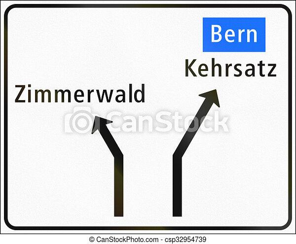Straße Gebraucht Zeichen Nähert Geringfügig Schweiz Verbindungen