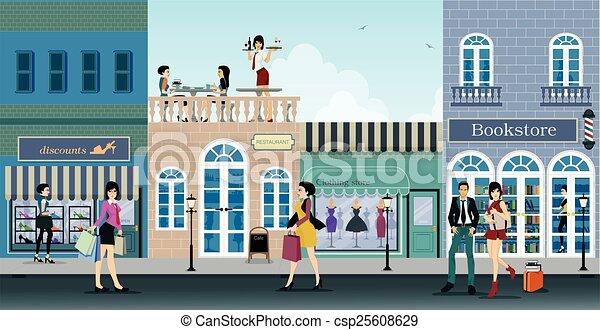 straße, shoppen - csp25608629