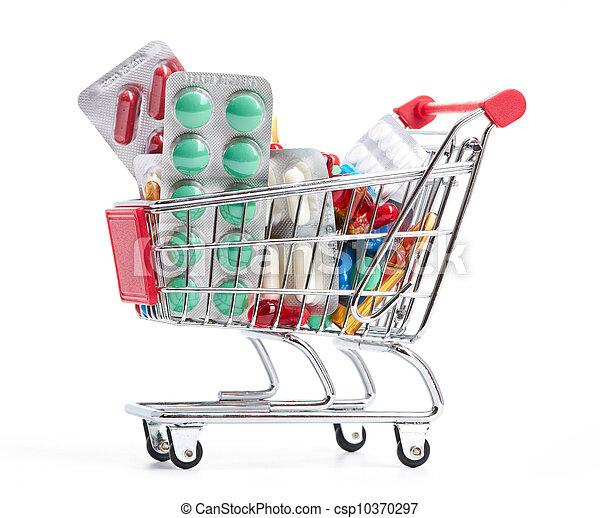 straßenbahn, medizinprodukt, shoppen, pillen - csp10370297