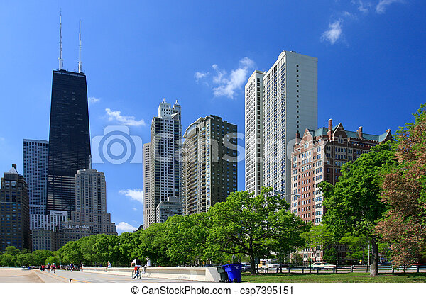 straat, chicago, aanzicht - csp7395151