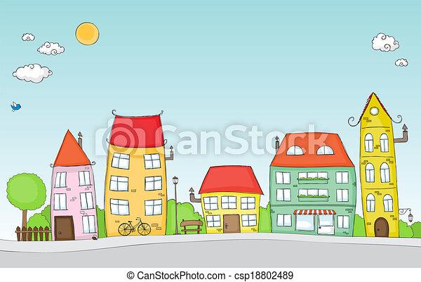 straat, spotprent - csp18802489
