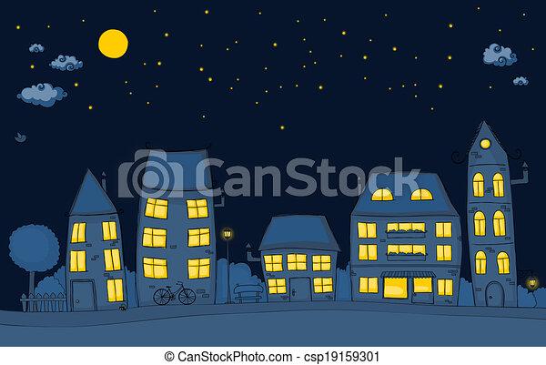 straat, spotprent, nacht - csp19159301