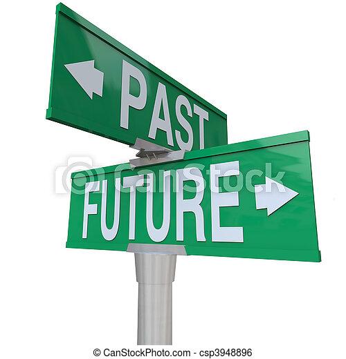 strada, bidirezionale, -, segno, passato, futuro - csp3948896
