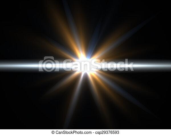 Designvorlage - Gelber Stern, Sonne mit Leuchtstoff. Rays Hintergrund. - csp29376593
