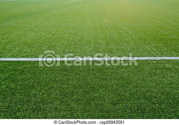 Straight white chalk line marking on grass background. - csp26943561