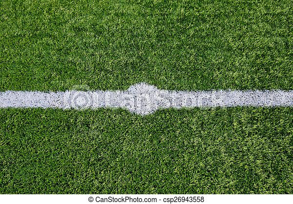 Straight white chalk line marking on grass background. - csp26943558