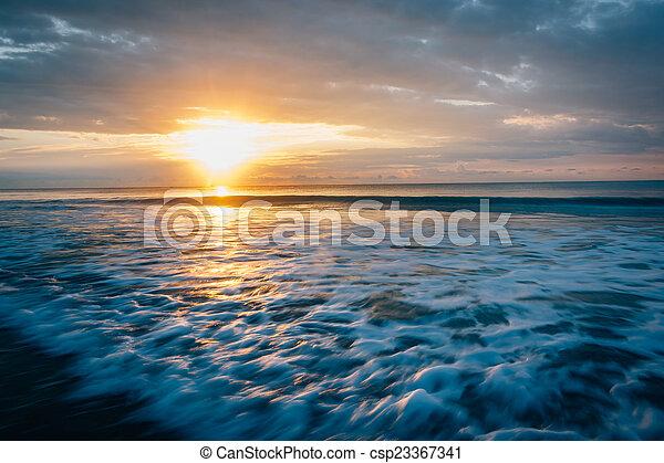 strand, carolina., över, dårskap, ocean, atlanten, soluppgång, syd - csp23367341