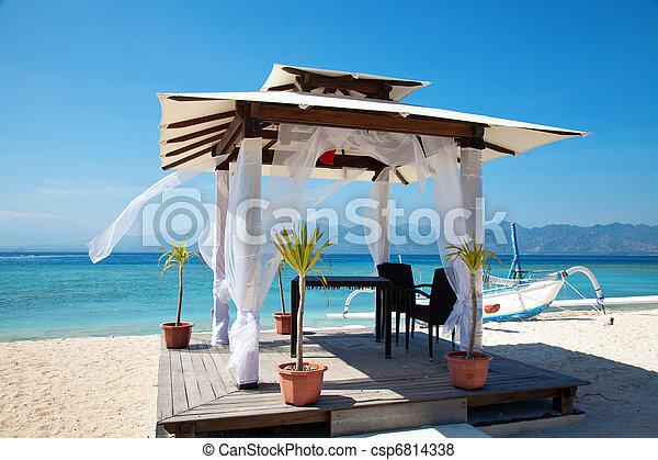 strand, eilanden, bruiloften, paviljoen, gili - csp6814338