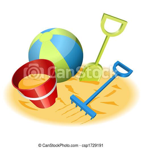 Strand clipart  Strand legetøj. Sand, vektor, strand, illustration, legetøj ...
