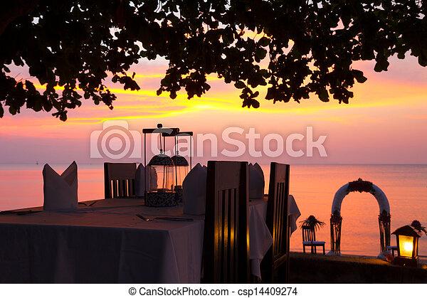 strand, middag sätta, solnedgång, restaurang - csp14409274