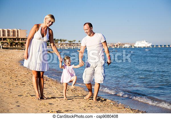 strand, spelend, gezin, vrolijke  - csp9080408