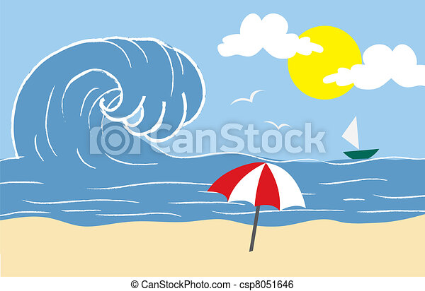 strand, vågor - csp8051646
