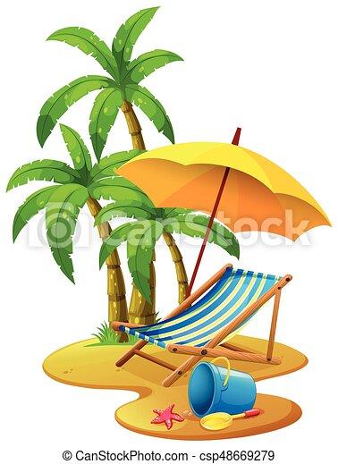 Liegestuhl mit sonnenschirm clipart  Strandliege, schirm, szene, abbildung.