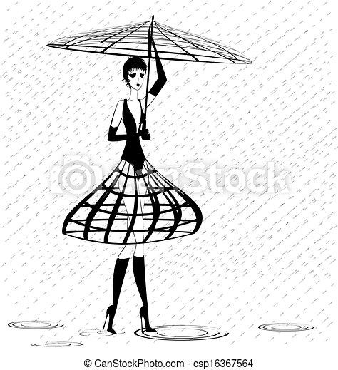 strange girl in the rain - csp16367564